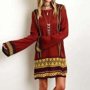 Burgundy Boho Gypsy Bell Sleeve Sweater